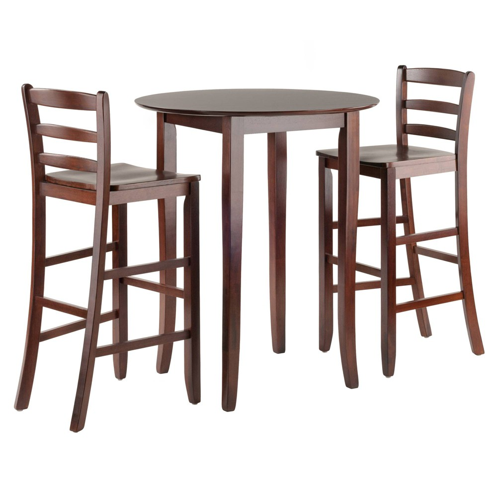 Fiona 3pc High Round Table with Ladder Back Stool - Antique Walnut (Brown) - Winsome