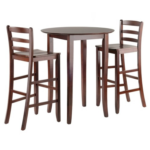 Fiona 3pc High Round Table With Ladder Back Stool Antique Walnut Winsome