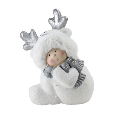"""Northlight 12.5"""" White and Gray Smiling Child with Reindeer Snow Suit Christmas Tabletop Decor"""