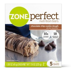 ZonePerfect Nutrition Bar Chocolate Chip Cookie Dough 5-1.76oz Bars