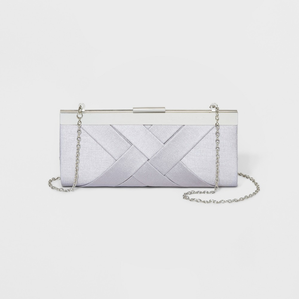 Image of Estee & Lilly Crisscross Textured Clutch - White, Women's