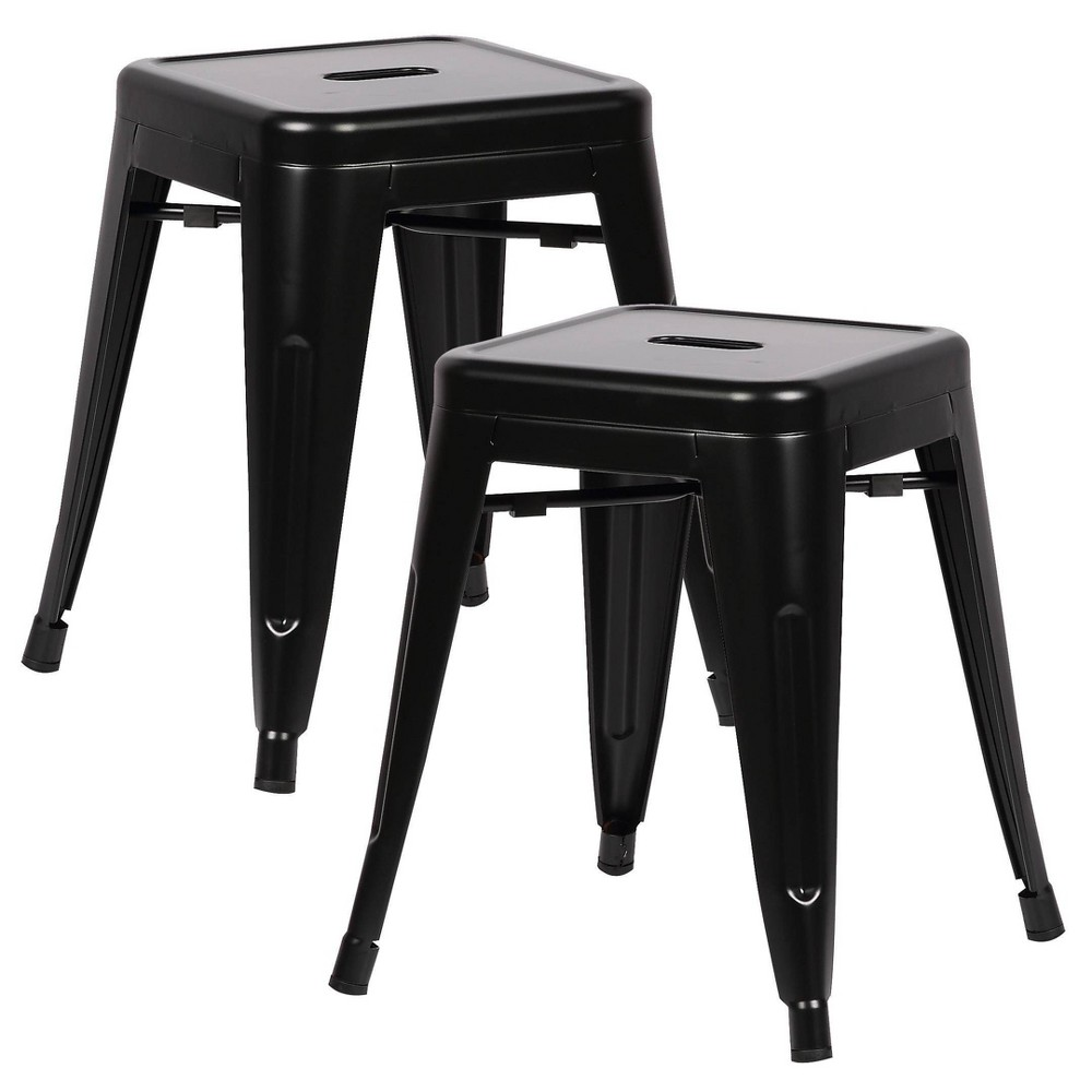 """Image of """"18"""""""" Set of 2 Franco Industrial Stool Black - Poly and Bark"""""""