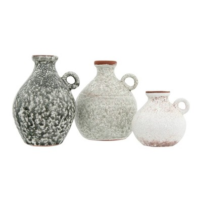 3pc Terracotta Vases with Reactive Glaze Finish Distressed Gray - 3R Studios