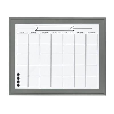 "24"" x 30"" Bosc Framed Magnetic Dry Erase Monthly Calendar Gray - DesignOvation"