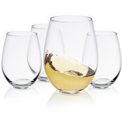 JoyJolt Spirits Stemless Wine Glasses Set of 4 Wine Glasses for Red or White Wine - 19-Ounces