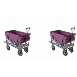 Mac Sports Heavy Duty Steel Double Decker Yard Cart Wagon, Purple (2 Pack)