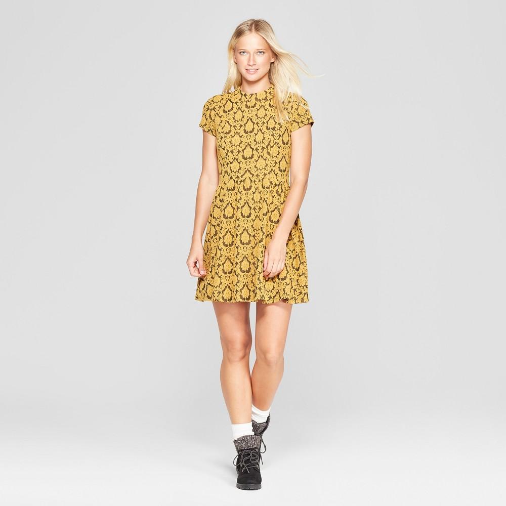 Women's Short Sleeve Jacquard Knit Dress - Xhilaration Gold S