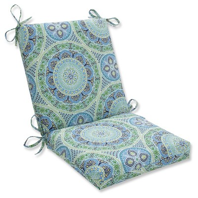 Outdoor/Indoor Delancey Lagoon Squared Corners Chair Cushion - Pillow Perfect