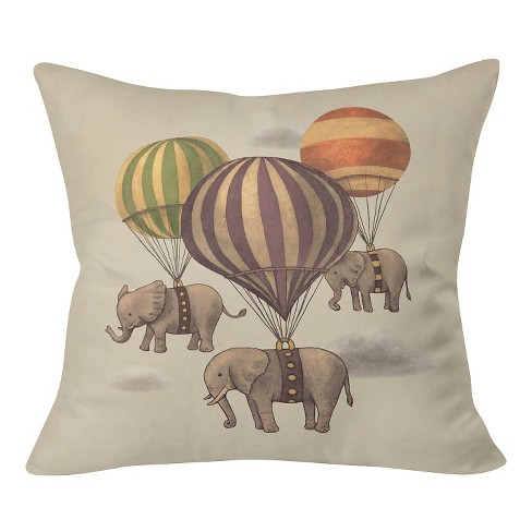 "Tan Terry Fan Flight Of The Elephants Throw Pillow (20""x20"") - Deny Designs® - image 1 of 3"