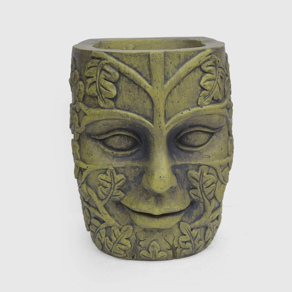 """Image of """"14.25"""""""" Mother Earth Cast Stone Novelty Planter Antique Green - Christopher Knight Home"""""""
