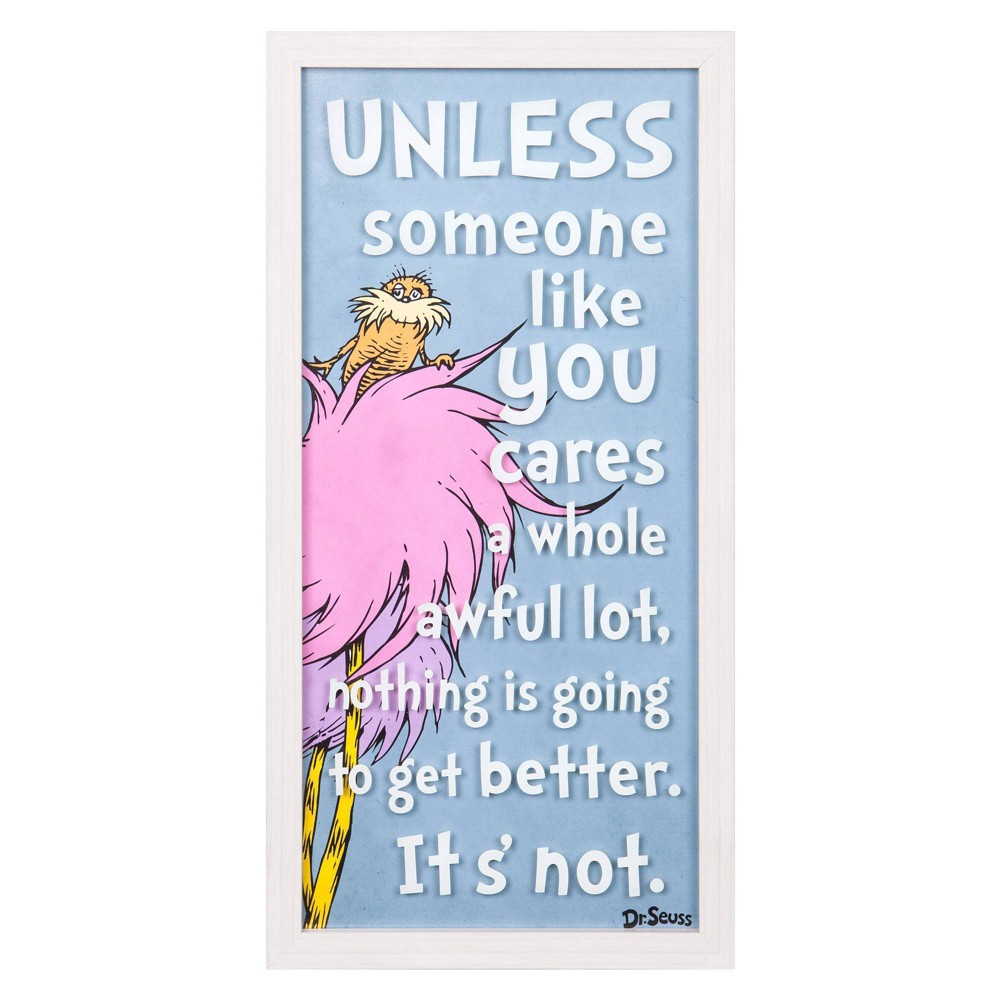 """Image of """"10""""""""x20"""""""" Dr. Seuss The Lorax """"""""Someone Like You"""""""" Framed Print on Glass Wall Art"""""""