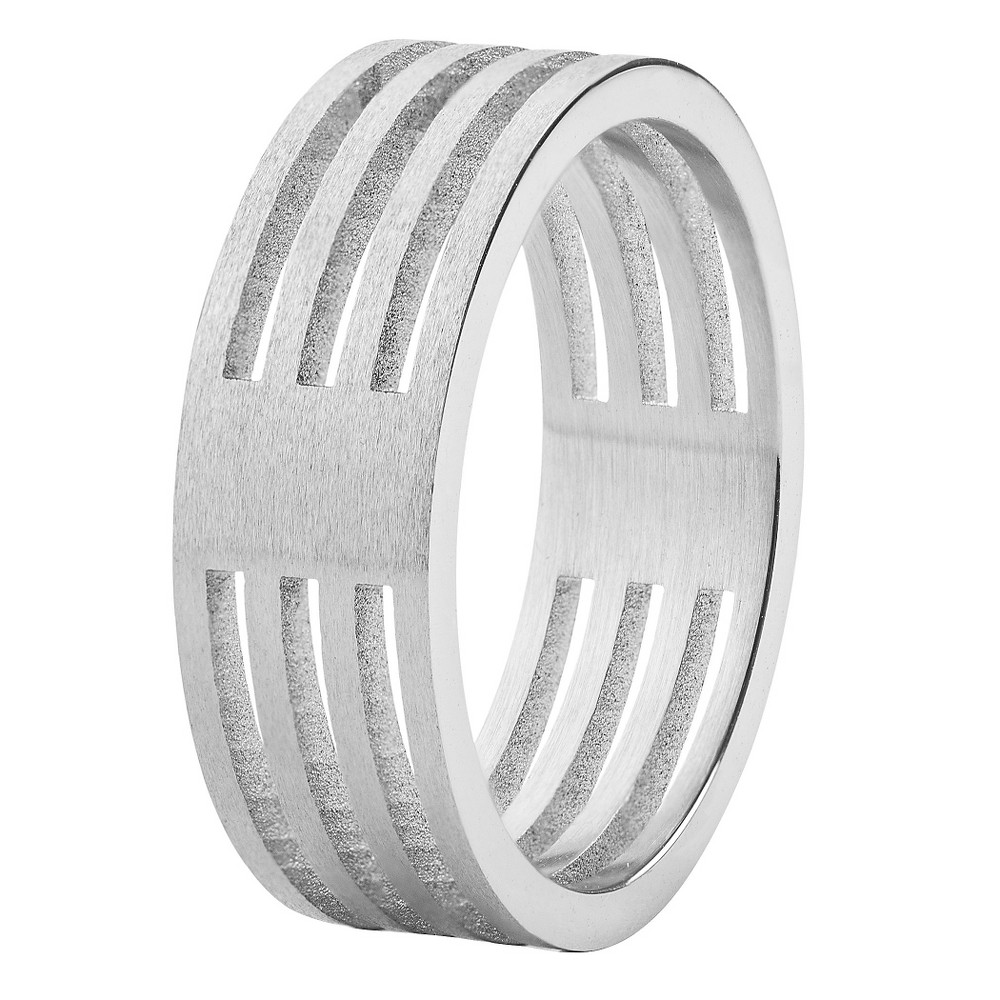 Men's West Coast Jewelry Stainless Steel Brushed Finish 4-Layer Split Ring (9), Silver