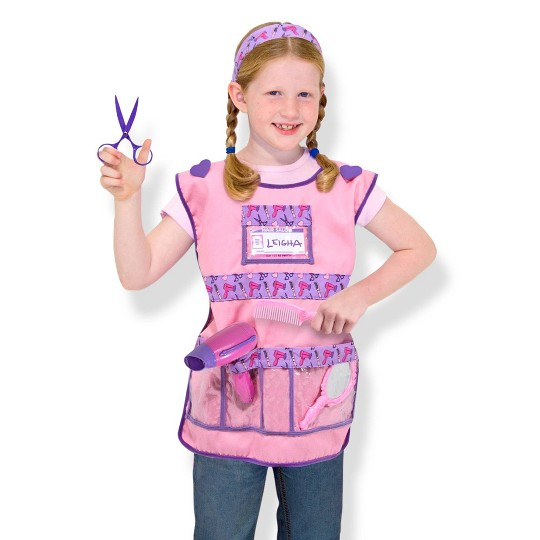 Melissa & Doug Hair Stylist Role Play Costume Dress-Up Set (7pc), Adult Unisex, Size: One Size, Gold image number null