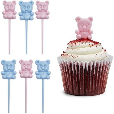 Sparkle and Bash 100-Piece Pink Blue Teddy Bear Cupcake Toppers & Wrappers Liners, Gender Reveal Party Supplies