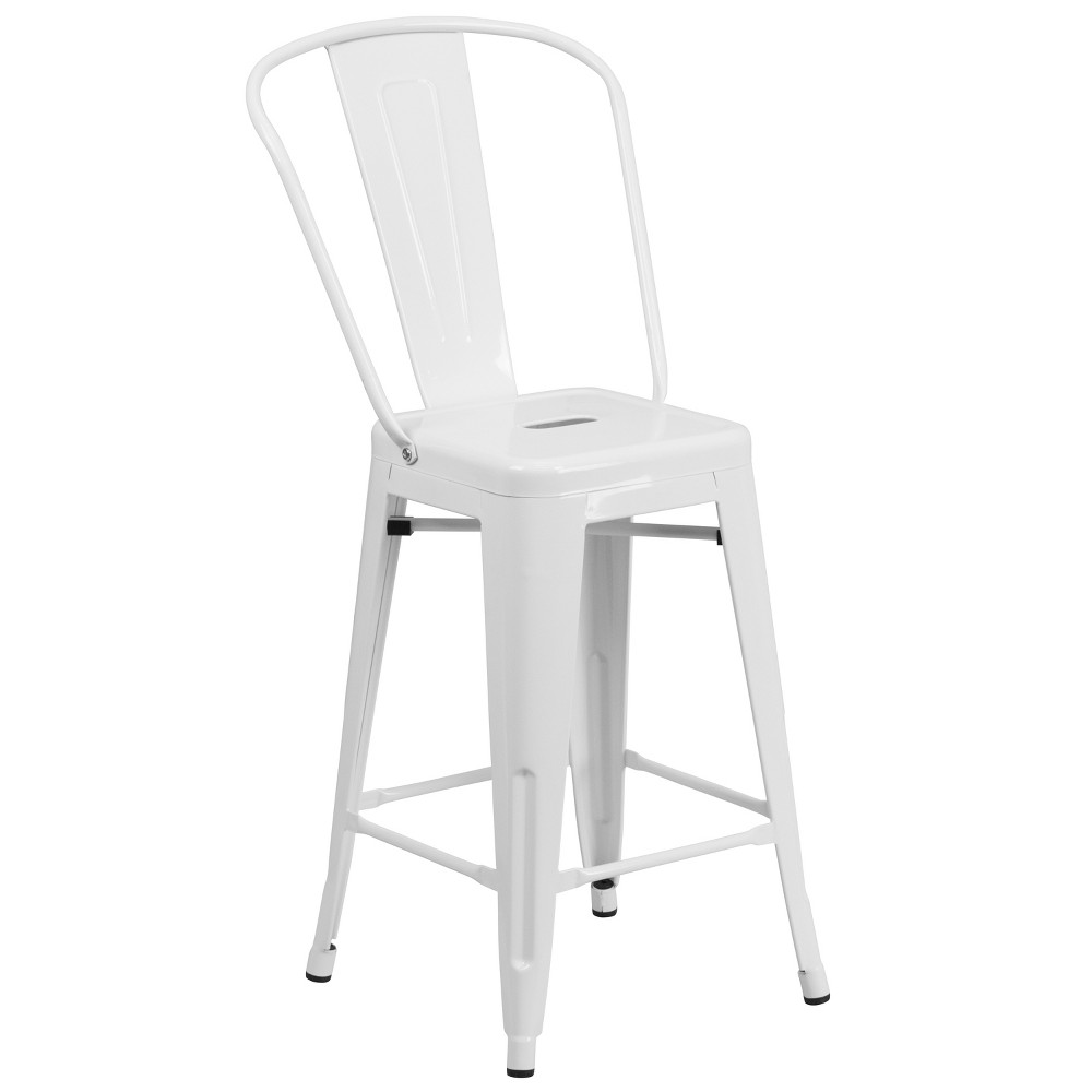 "Image of ""24.5"""" Riverstone Furniture Collection Metal Outdoor Stool White"""