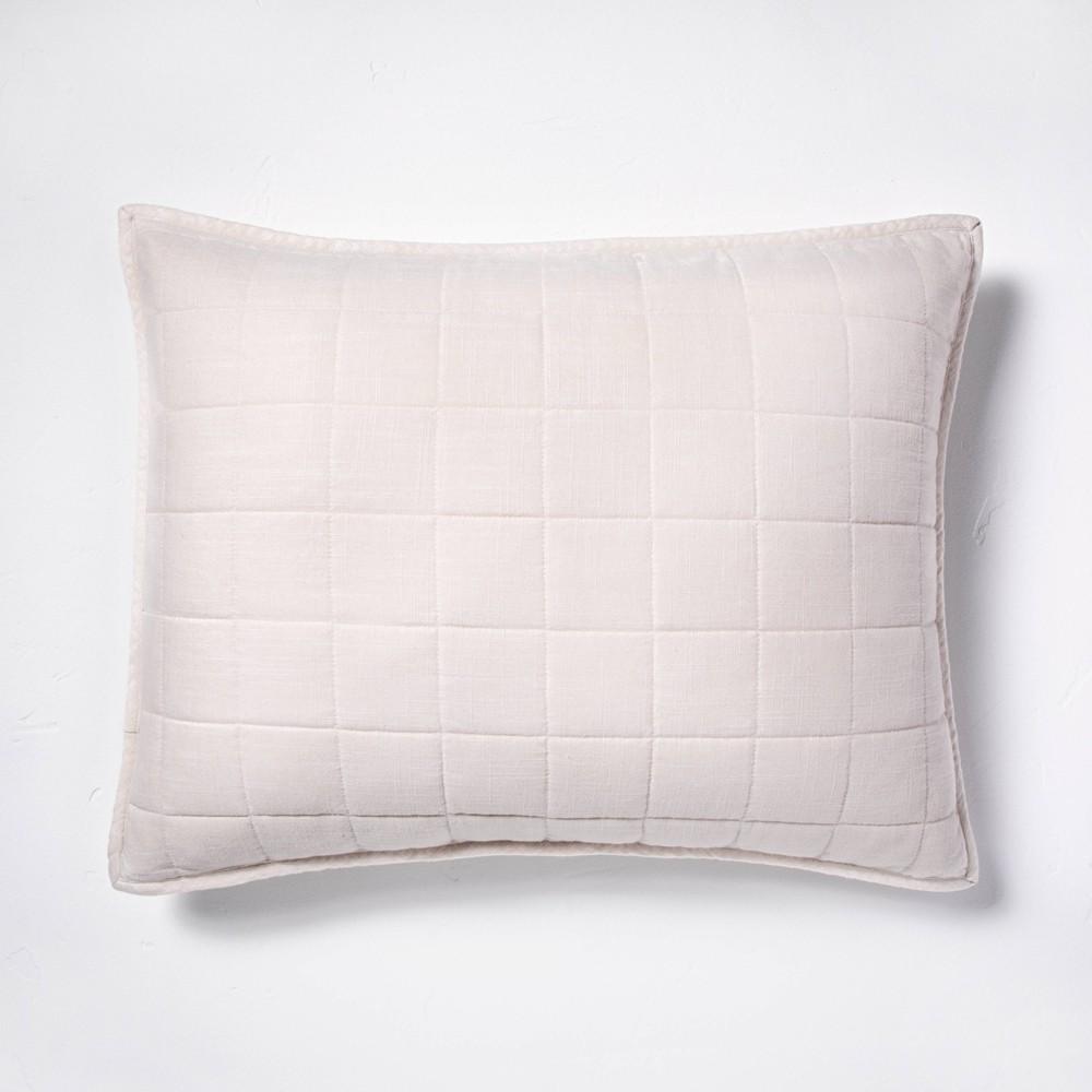 Standard Heavyweight Linen Blend Quilted Pillow Sham Natural Casaluna 8482