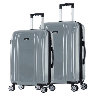 InUSA SouthWorld 2pc Hardside Spinner Luggage Set 23 & 27  - Silver Brush