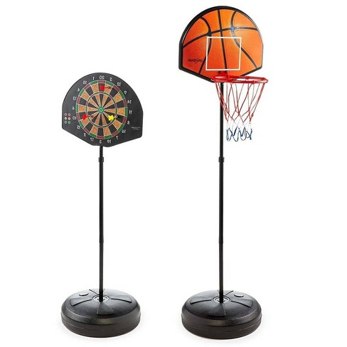 HearthSong 2-in-1 Basketball and Magnetic Dart Game for Indoor Play with Six Darts, Inflatable Basketball, Pump, and Hoop - image 1 of 4