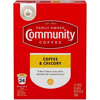Community Coffee Coffee & Chicory Medium Roast Coffee - Single Serve Pods - 24ct