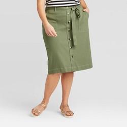 Women's Plus Size Button-Front Midi Knit Skirt - Ava & Viv™ Green