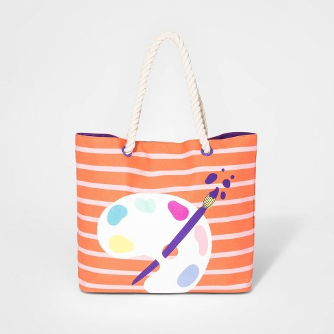 Girls' Paint Palette Double Handle Tote Bag - Cat & Jack™ Pink - image 1 of 1