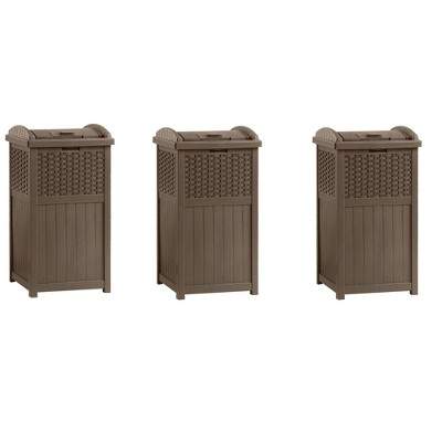 Suncast Trash Hideaway 33 Gallon Resin Wicker Outdoor Garbage Container (3 Pack)