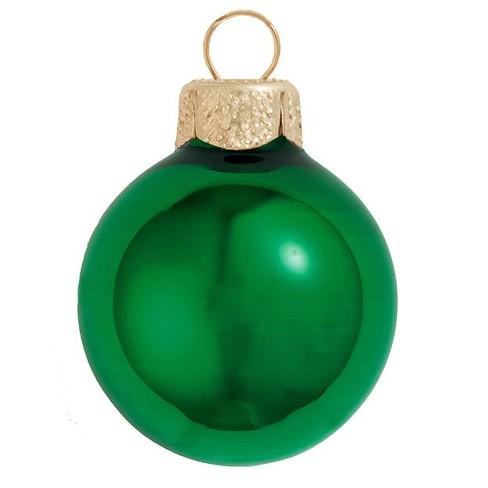 "Northlight 6ct Shiny Glass Ball Christmas Ornament Set 4"" - Green Xmas - image 1 of 1"
