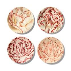 4pk Melamine Salad Plate Set Floral Print White/Red - John Derian for Target