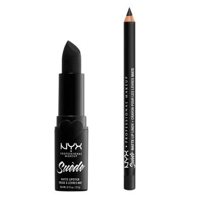 NYX Professional Makeup Suede Matte Black Lipstick and Lip Liner Duo Kit - Alien - 2pk/0.155oz