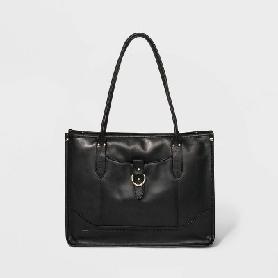 Bolo Snap Closure Leather Tote Handbag - Black