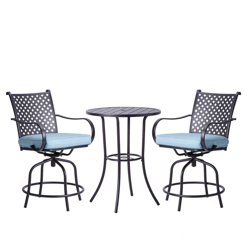 Image of Peaktop 3pc Patio Swivel Bar Height Bistro Set with Cushions - Teamson