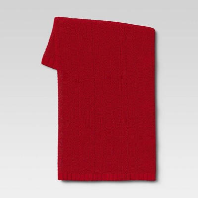 Striped Chenille Knit Throw Blanket Red - Threshold™