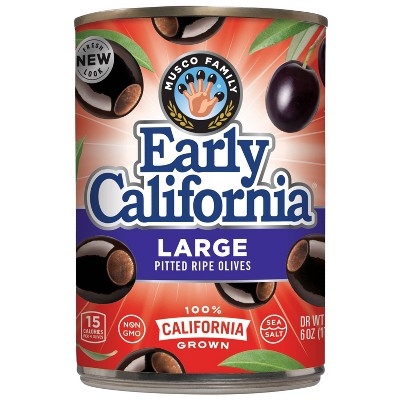 Early California Large Pitted Ripe Black Olives - 6oz