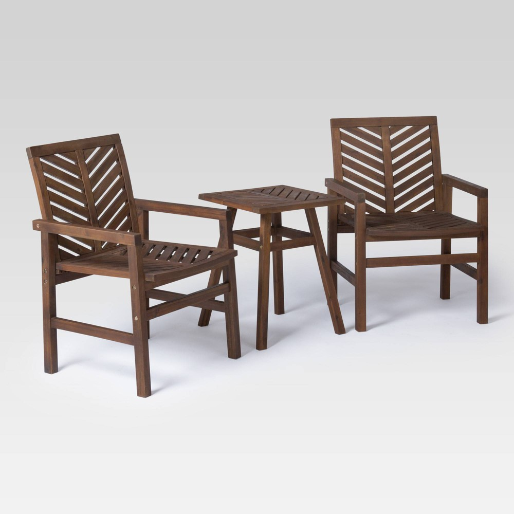Image of 3pc Chevron Outdoor Patio Chat Set - Dark Brown - Saracina Home