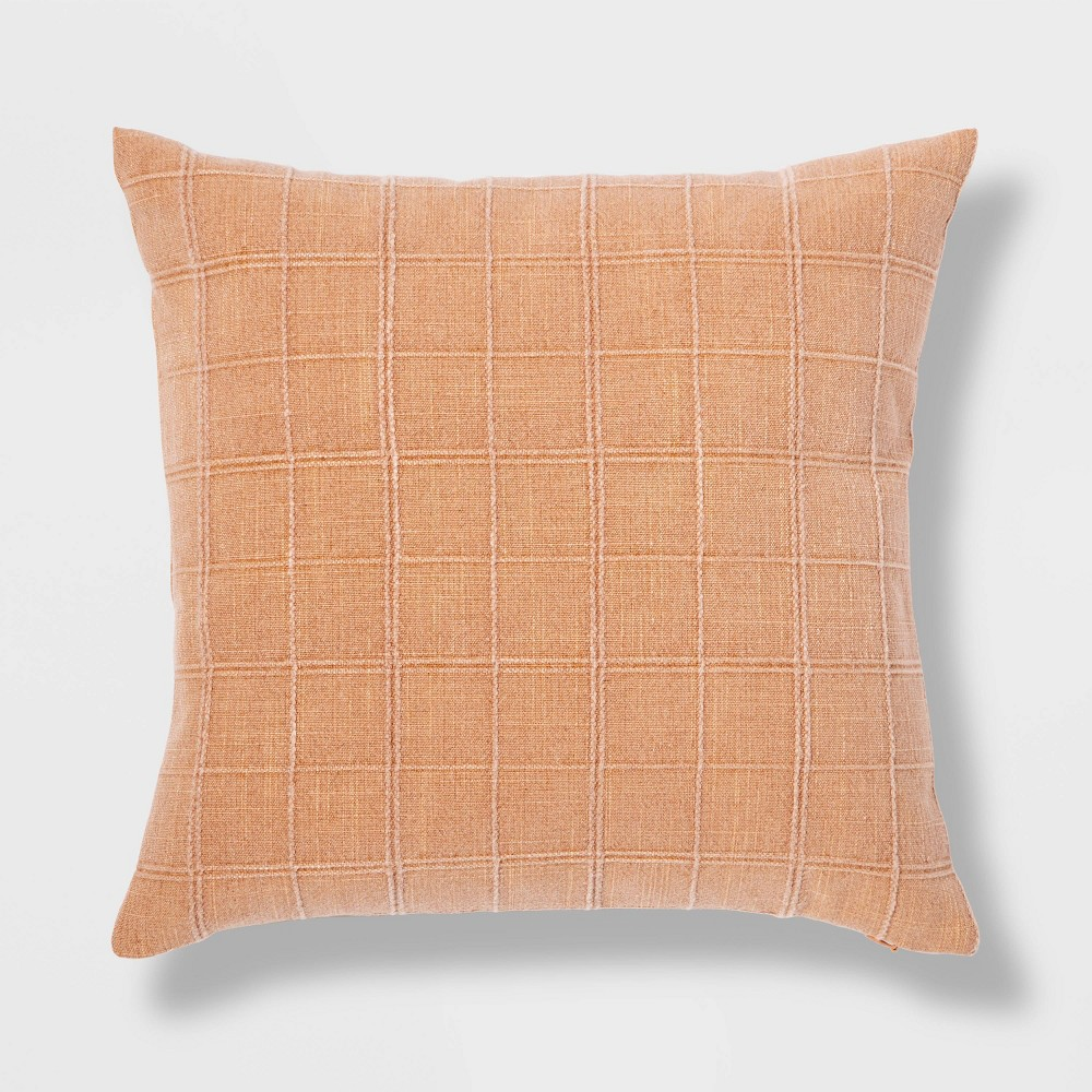 Oversized Woven Washed Windowpane Square Pillow Clay Threshold 8482