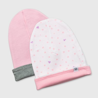 Honest Baby Baby Girls' 2pk Organic Cotton Love Dot Reversible Hat