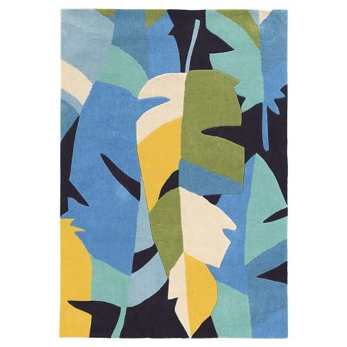 Trio 406 Tropical Leaf Area Rug - Blue (8' X 10') - image 1 of 1