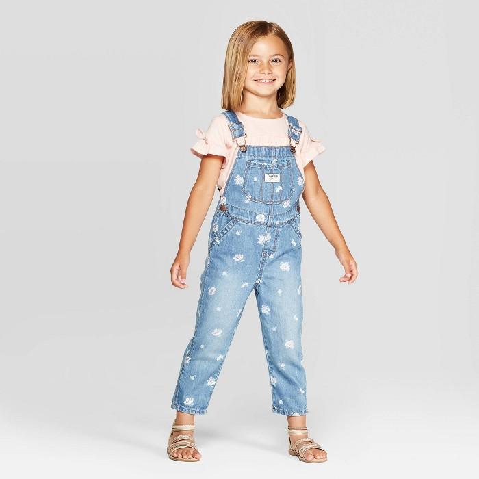 OshKosh B'Gosh Toddler Girls' Floral Overalls - Blue - image 1 of 3