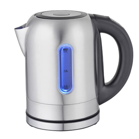 MegaChef 1.7L Electric Tea Kettle with 5 Temperature Presets - Silver - image 1 of 3