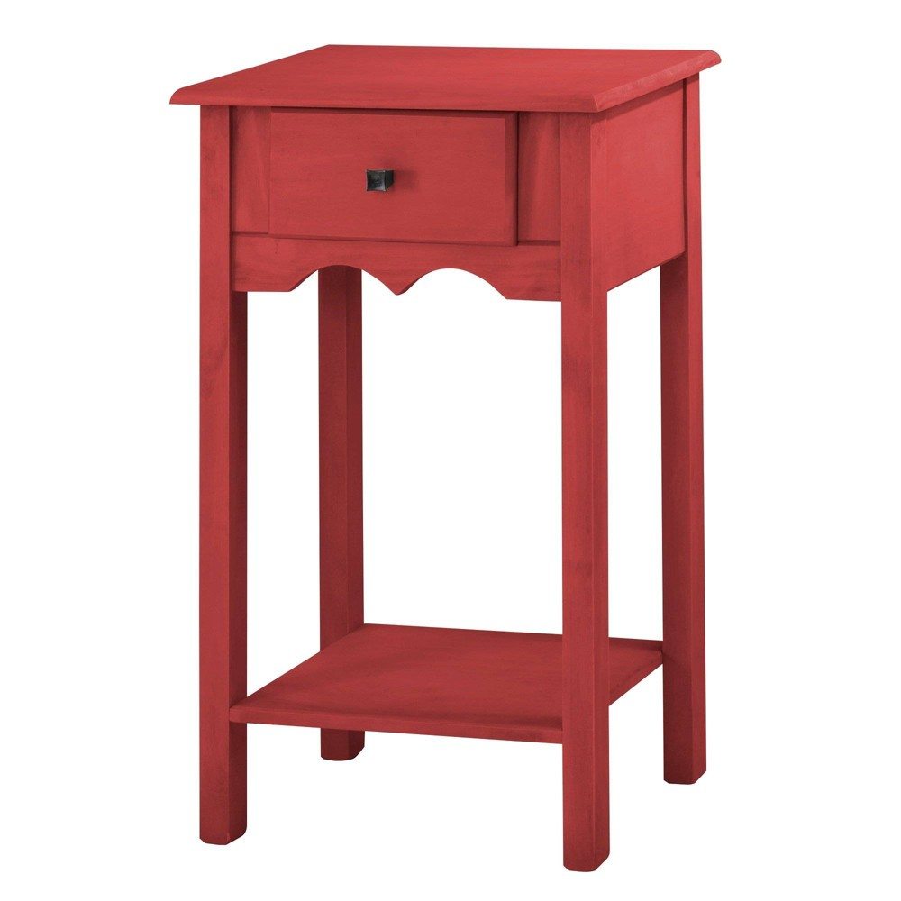 35.43 Jay Tall End Table with 1 Full Extension Drawer Wash Red - Manhattan Comfort