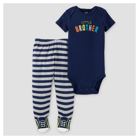 Baby Boys' Little Brother 2pc Footed Pants Set - Just One You™ Made by Carter's® Black 3M - image 1 of 1