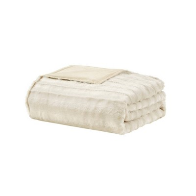 "60"" x 70"" York Faux Fur 12lb Weighted Throw Blanket with Removable Cover"