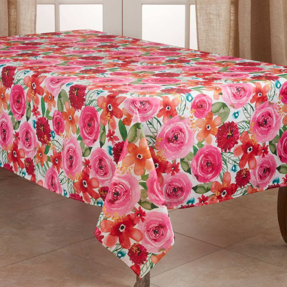 """Image of """"104"""""""" x 65"""""""" Polyester Floral Print Tablecloth - Saro Lifestyle"""""""