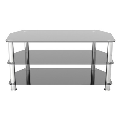 "50"" TV Stand with Glass Shelves - Silver/Black"