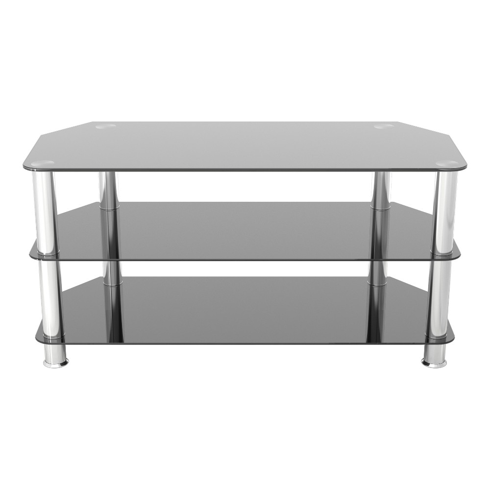 """Image of """"50"""""""" TV Stand with Glass Shelves - Silver/Black"""""""
