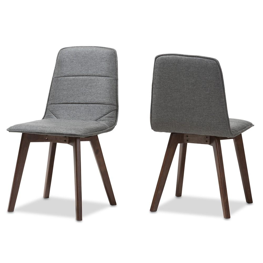 Set of 2 Karalee Mid Century Modern Fabric Upholstered Dining Chairs Dark Gray - Baxton Studio