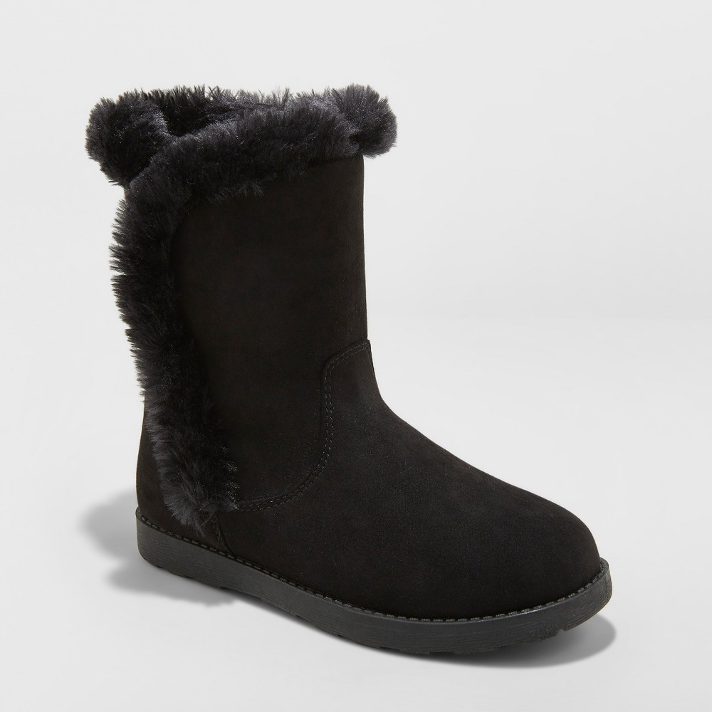 Girls' Hadlee Microsuede Fashion Boots - Cat & Jack Black 13