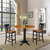 "42.3"" Round Pedestal Bar Height Table with 2 Bar Height Stools Natural/Black - International Concepts - image 4 of 4"
