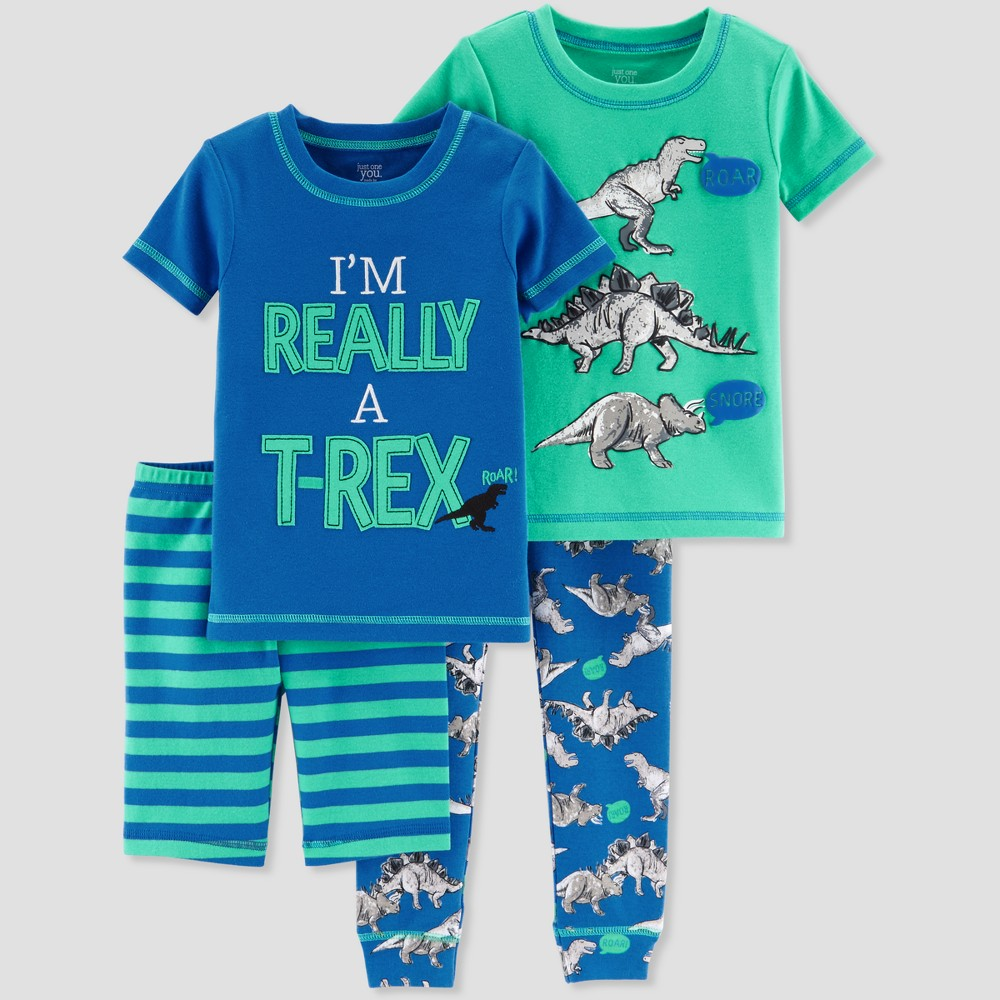 Toddler Boys' 4pc T-Rex Pajama Set - Just One You made by carter's Blue 3T