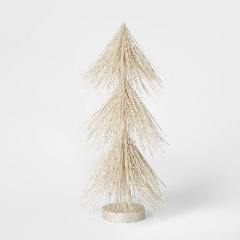 15in Unlit Tinsel Hard Needle Tree Champagne - Wondershop™ - image 1 of 3